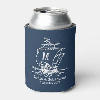 Monogrammed Wedding Couple Vintage Ship Navy Blue Can Cooler
