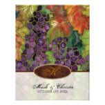 Monogrammed Wedding Invitation Autumn Grape Leaf