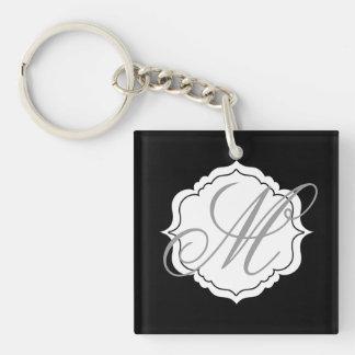 Monogrammed Wedding Keychain Favors Black White