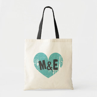 Monogrammed wedding tote bag with vintage heart