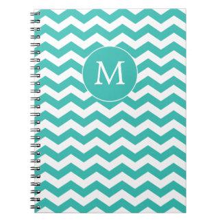 Monogrammed White and  Aqua Chevron Notebook