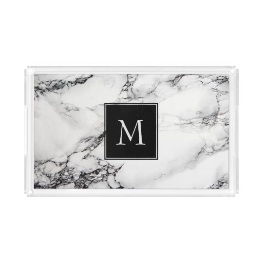 Monogrammed White And Black Marble Acrylic Tray
