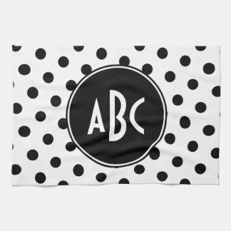 Monogrammed White and Black Polka Dots Tea Towel