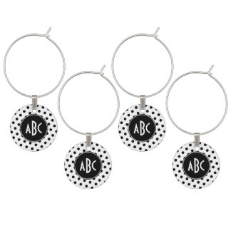 Monogrammed White and Black Polka Dots Wine Charm