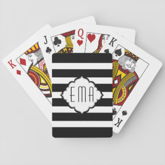 Monogrammed White And Black Stripes Pattern Playing Cards