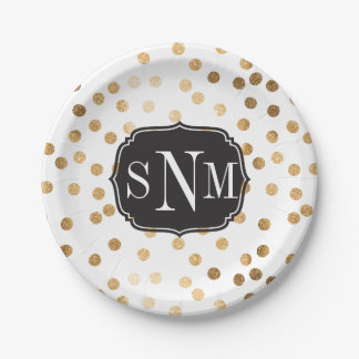 Monogrammed White and Gold Glitter Dots Paper Plate