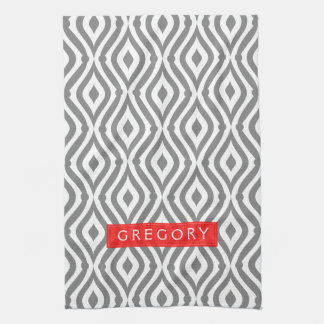 Monogrammed White And Gray Geometric Pattern Tea Towel