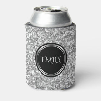 Monogrammed White And Gray Glitter Can Cooler