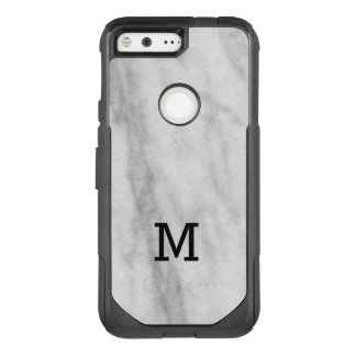 Monogrammed White and Gray Marble   Look OtterBox Commuter Google Pixel Case