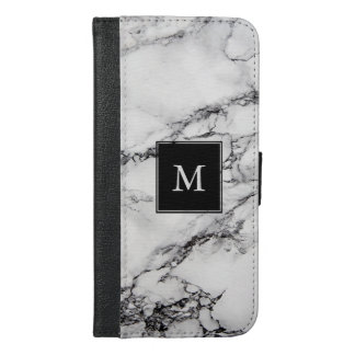 Monogrammed White And Gray Striped Marble Stone iPhone 6/6s Plus Wallet Case
