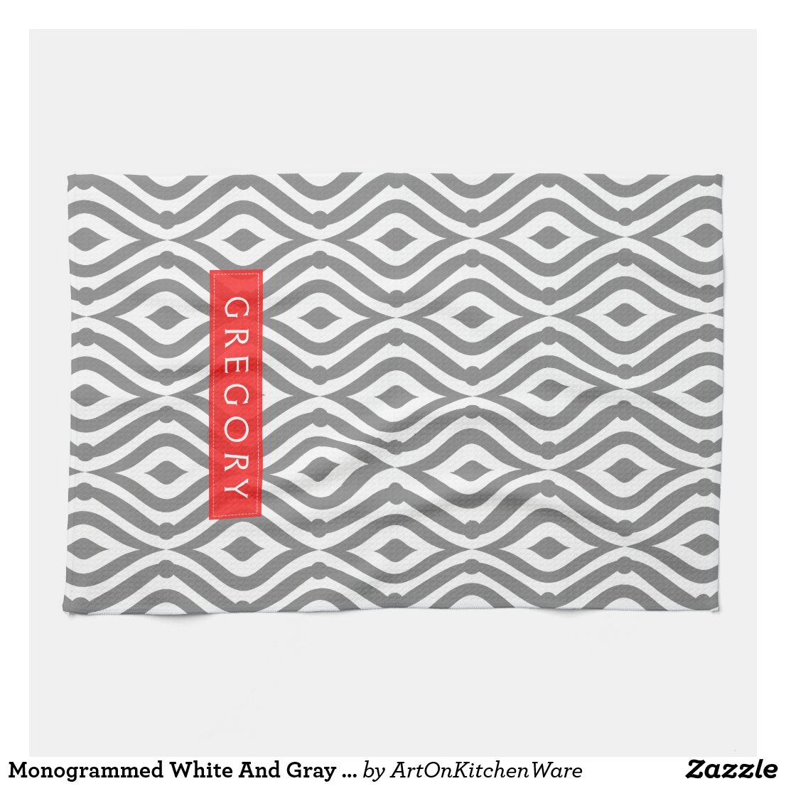 Monogrammed Pattern Tea Towel