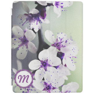 Monogrammed White and Purple Blooms iPad Cover