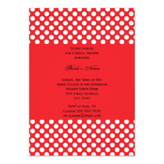 Monogrammed White and Red Polka Dot Bridal Shower Card