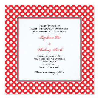Monogrammed White and Red Polka Dot Wedding 13 Cm X 13 Cm Square Invitation Card