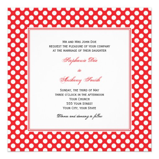 Monogrammed White and Red Polka Dot Wedding Personalized Invite