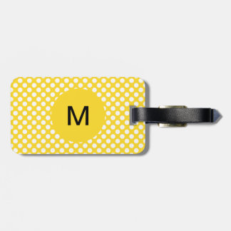 Monogrammed White and Yellow Polka Dot Luggage Tag