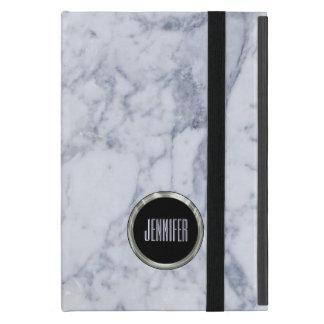 Monogrammed White Marble Stone Pattern & Silver iPad Mini Case