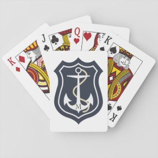 Monogrammed White Nautical Anchor Playing Cards