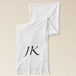 Monogrammed White Scarf with Black Text