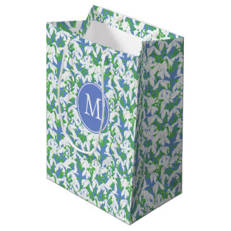 Monogrammed White Snowdrops on Soft Blue Medium Gift Bag