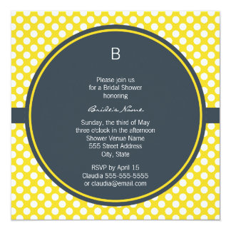 Monogrammed White, Yellow and Charcoal Polka Dot 13 Cm X 13 Cm Square Invitation Card