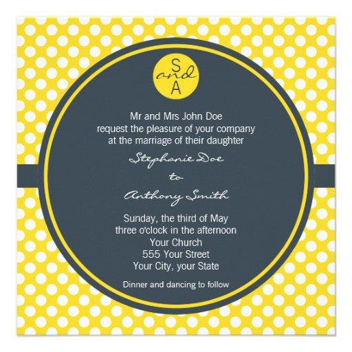 Monogrammed White, Yellow and Charcoal Polka Dot Custom Invite