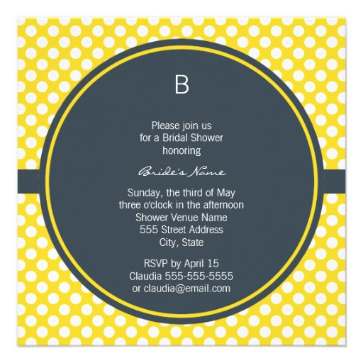 Monogrammed White, Yellow and Charcoal Polka Dot Personalized Announcement