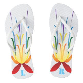 Monogrammed Wild rainbow flower Design Flip Flops