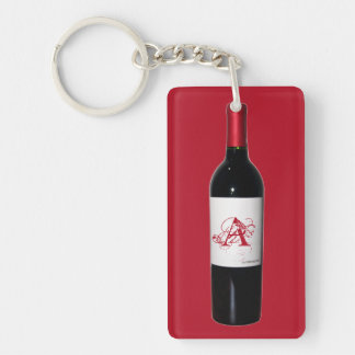Monogrammed Wine Bottle Acrylic Keychain