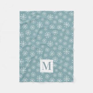 Monogrammed Winter Snowflakes Fleece Blanket
