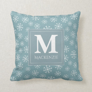 Monogrammed Winter Snowflakes Holiday Cushion