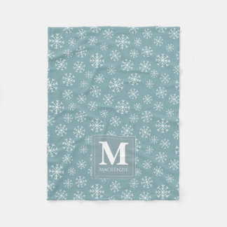 Monogrammed Winter Snowflakes Holiday Fleece Blanket