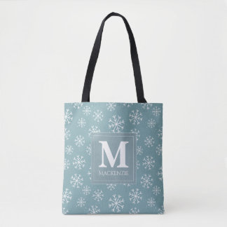 Monogrammed Winter Snowflakes Holiday Tote Bag