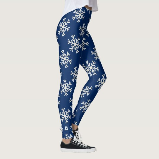 Monogrammed Winter White Snowflake Your Colour Leggings