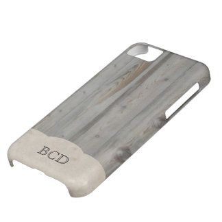 Monogrammed Wood and Parchment Rustic Country Cover For iPhone 5C