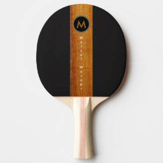 monogrammed wood color stripe on black ping pong paddle