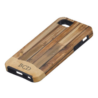Monogrammed Wood Parchment (Faux) Rustic Country Tough iPhone 5 Case