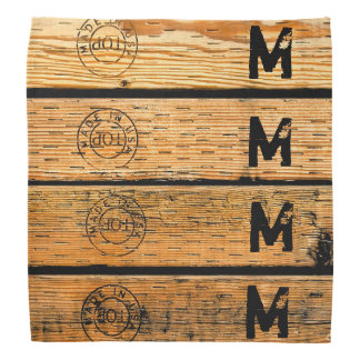 """Monogrammed Wood Planks Stamped w """"Made in USA"""" Bandana"""