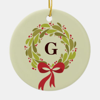 Monogrammed Wreath - Our First Christmas Christmas Ornament