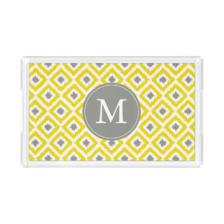 Monogrammed Yellow and Gray Ikat Diamonds Pattern