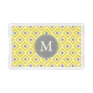 Monogrammed Yellow and Gray Ikat Diamonds Pattern Acrylic Tray