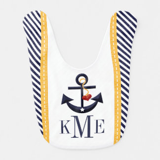 MONOGRAMMED YELLOW AND NAVY ANCHOR HEART BABY BIBS
