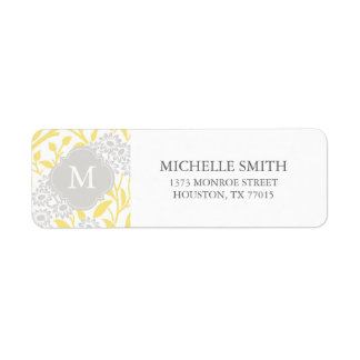 Monogrammed Yellow Gray Floral Damask Pattern