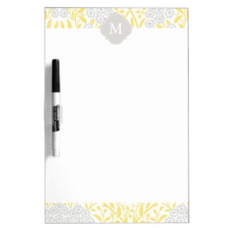 Monogrammed Yellow Gray Floral Damask Pattern Dry Erase Whiteboards