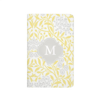 Monogrammed Yellow Gray Floral Damask Pattern Journals