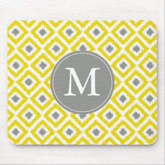 Monogrammed Yellow Gray Ikat Pattern Mouse Pad