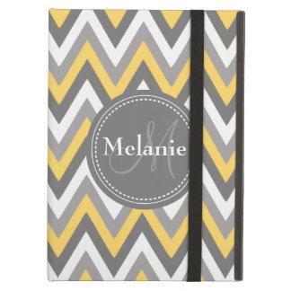 Monogrammed Yellow & Grey Chevron Pattern iPad Air Case