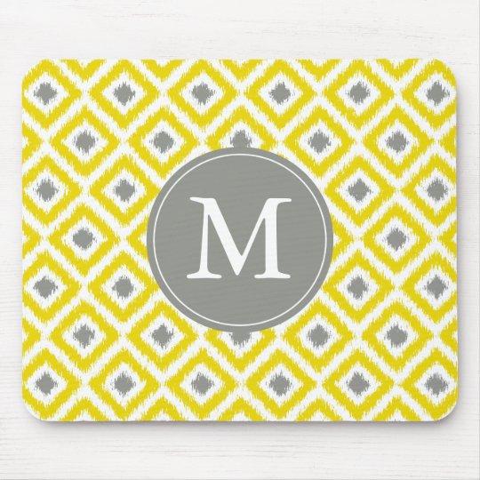 Monogrammed Yellow Grey Ikat Pattern Mouse Pad
