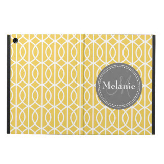 Monogrammed Yellow Grey Moroccan Ogee Pattern Cover For iPad Air