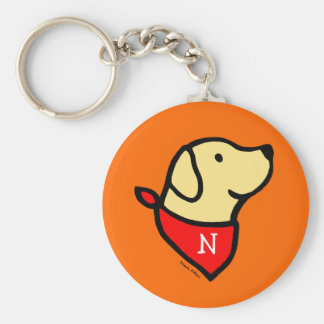 Monogrammed Yellow Lab & Scarf Cartoon Basic Round Button Key Ring